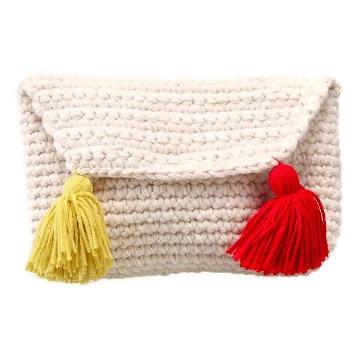 Lau Tassel Knitted Clutch