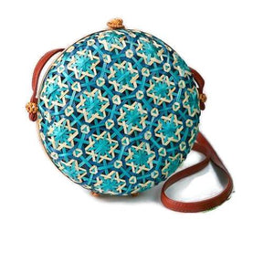 Erika Vintage Colorful Rattan Bag