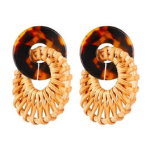 Load image into Gallery viewer, Rattan and Bamboo Effect Drop Earrings