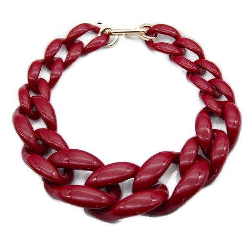 Wine Red Acrylic Chunky Necklace