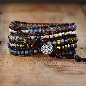 Black Stone Leather Wrap Bracelet