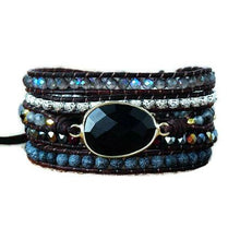Load image into Gallery viewer, Black Stone Leather Wrap Bracelet