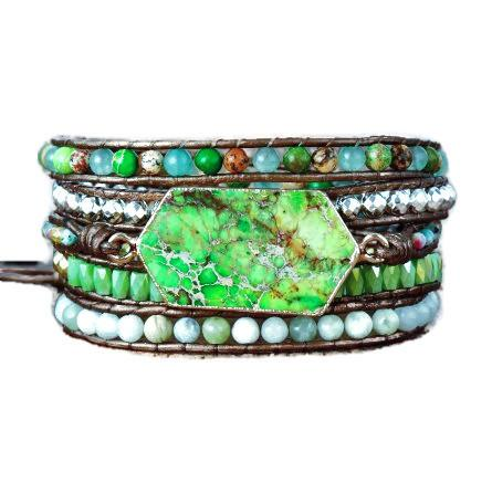 Green Stone Leather Wrap Bracelet