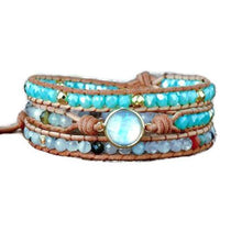 Load image into Gallery viewer, Natural Opal Stone 3 Layer Leather Wrap Bracelet
