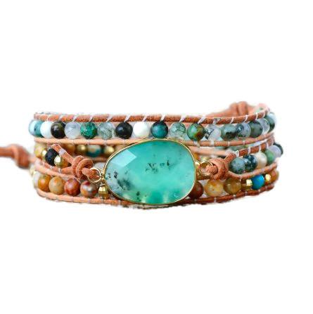 Blue Stone Three Layers Leather Wrap Bracelet
