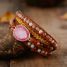 Load image into Gallery viewer, Rhodonite Mix Chain 5 Strands Woven Wrap Bracelet