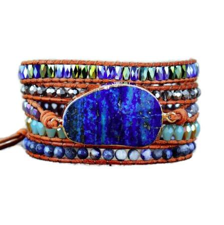 Marine Blue Stone Leather Wrap Bracelet