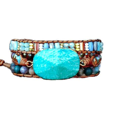 Turquoise Stone Leather Wrap Bracelet