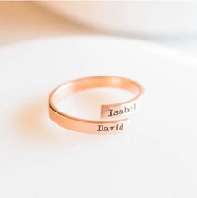 Load image into Gallery viewer, rose gold custom name ring