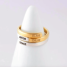 Load image into Gallery viewer, gold and silver personalized name ring