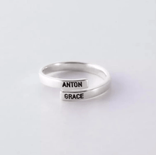 Load image into Gallery viewer, silver name ring
