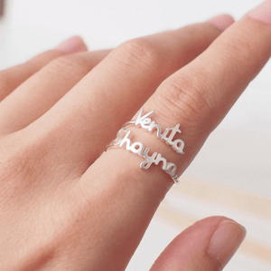 Camellia Double Name Ring