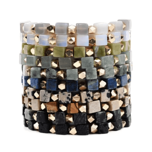 Square Stones Stacking Bracelets