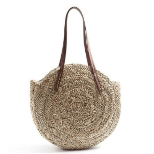 Natural Large Oval Straw Bag - Hooking Hands
