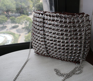Beaded Brown Can Tab Handbag - Hooking Hands