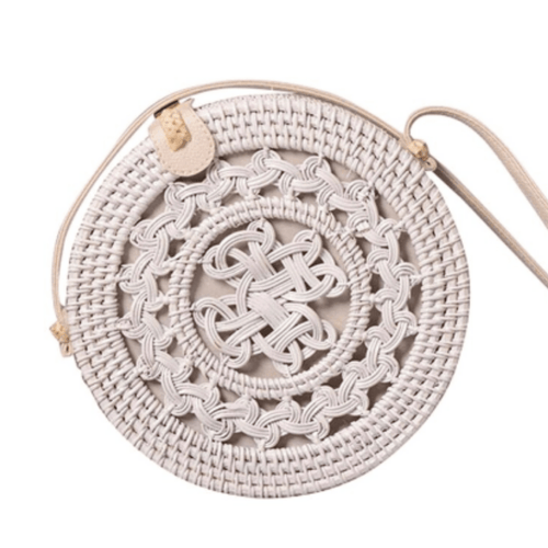 June White Crossbody Rattan Bag