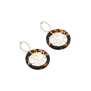 Leopard and Eye Round Drop Earrings