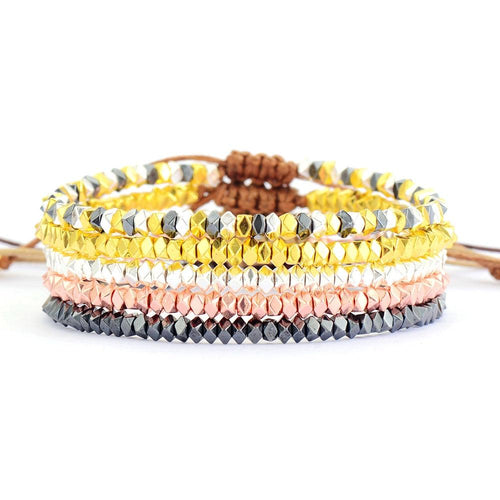 Shiny Metal Bead Adjustable Bracelets