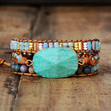 Load image into Gallery viewer, Turquoise Stone Leather Wrap Bracelet