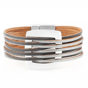 Metal Charm Multilayer Wide Bracelet
