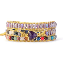 Load image into Gallery viewer, Amethysts Stones Crystal Woven Wrap Bracelet