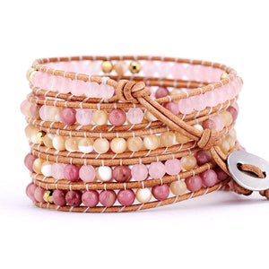 Pink and Gold Stone Leather Wrap Bracelet