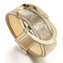 Load image into Gallery viewer, Shiny Gold Metal Leather Bracelet