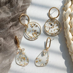 Unique Shell Pearl Transparent Earrings