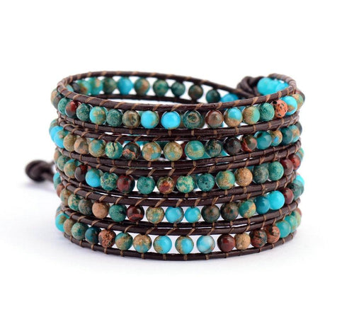 Bohemian Natural Stone Leather Wrap Bracelet