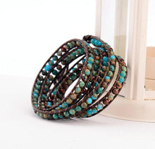 Load image into Gallery viewer, Bohemian Natural Stone Leather Wrap Bracelet