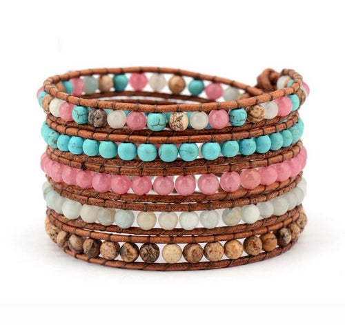 Mix Natural Stones 5 Layers Leather Wrap Bracelet