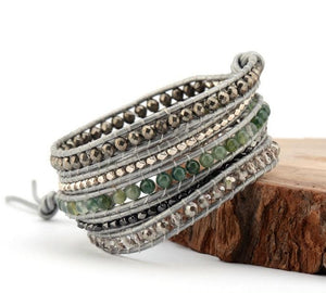 Grey Natural Stone Leather Wrap Bracelet