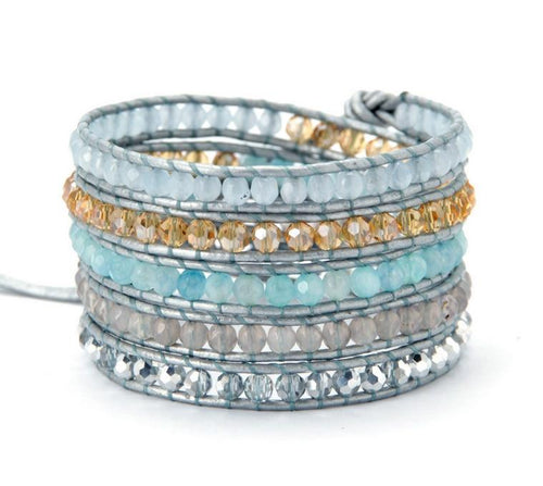 Light Blue Leather Wrap Bracelet