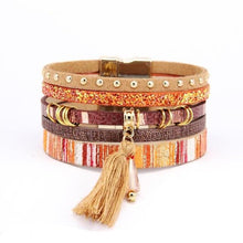 Load image into Gallery viewer, Bohemian Tassel Wide Bracelet