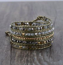Load image into Gallery viewer, Golden Natural Stones with Crystals Leather Wrap Bracelet