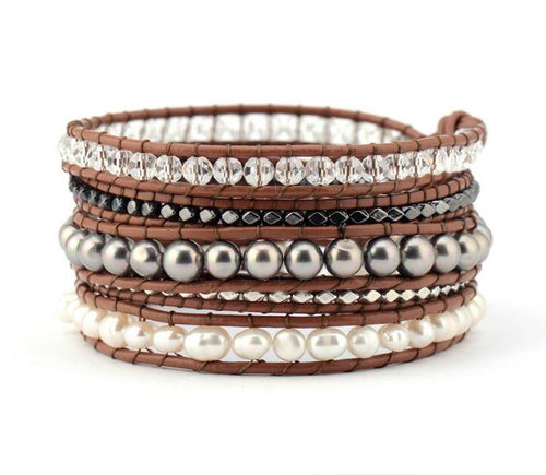 Five Layered Leather Wrap Pearl Bracelet