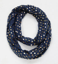 Load image into Gallery viewer, Thin Polka Dot Infinity Scarf