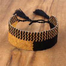 Load image into Gallery viewer, Boho Gold and Black Beaded Bracelet - Hooking Hands