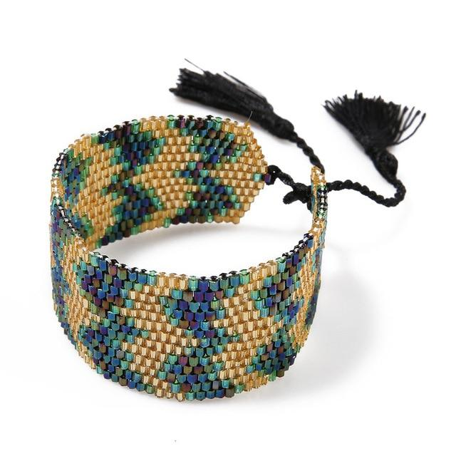 Gold Stripped Ethnic Bracelet - Hooking Hands