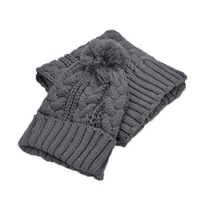 Winter Warm Knit Ski Hat & Scarf Set