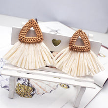 Load image into Gallery viewer, Triangle Rattan Knit Big Drop Dangle Earrings