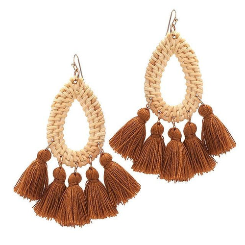 Bohemian Straw Rattan Knit Tassels Earrings - Hooking Hands