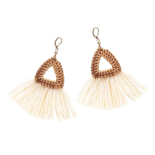Triangle Rattan Knit Big Drop Dangle Earrings