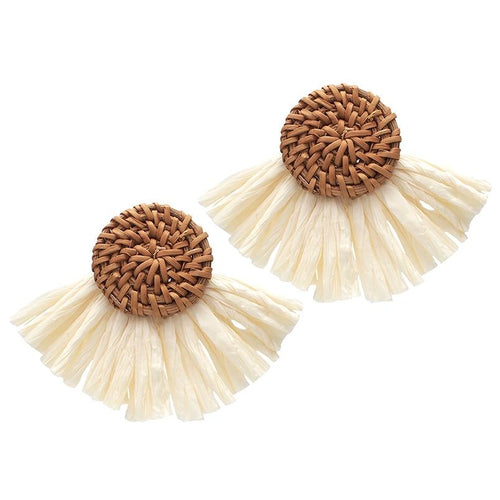 Oversized Raffia Earrings