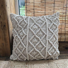 Load image into Gallery viewer, Hand-Woven Macrame Pillow Cover