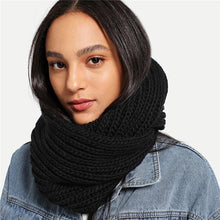 Load image into Gallery viewer, Black Modern Casual Knit Infinity Scarf - Hooking Hands