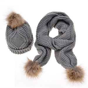 Furry Ball Winter Hat and Scarf Set - Hooking Hands