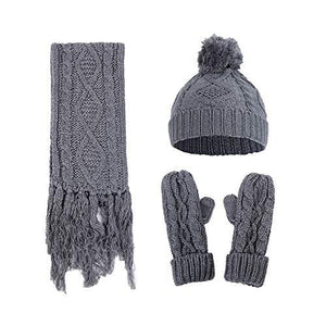 Knitted Hat Gloves Scarf Set - Hooking Hands