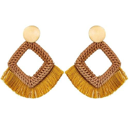 Handmade Straw Weave Rattan Earring - Hooking Hands