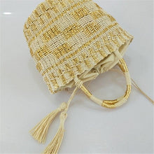 Load image into Gallery viewer, Modern Cylindrical Straw Bag - Hooking Hands